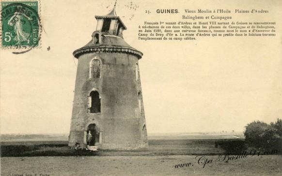 Carte-postale-Ancienne-Guines-Vieux Moulin à l'huile