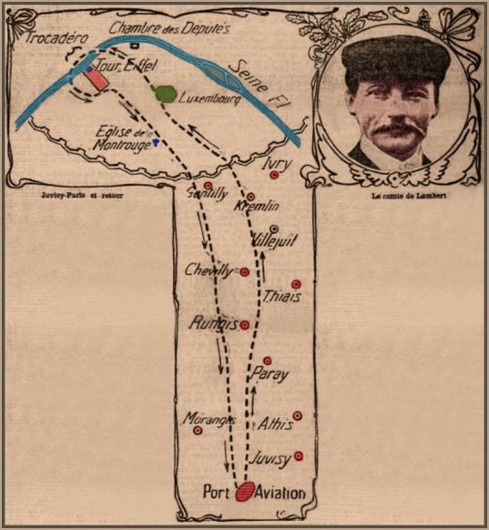 plan de vol du Comte Lambert - Raid du 18 Octobre 1909