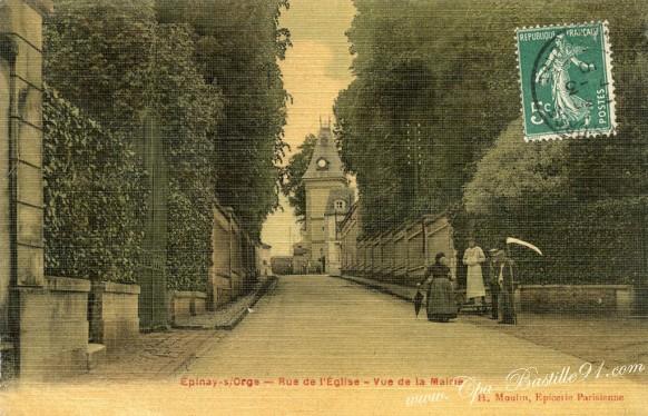 Carte-toilée-epinay-sur-Orge-Rue-de-léglise-Vue-de-la-Mairie.