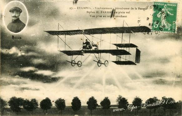 Philippe-BILLE-Aviateur-biblan-H-Farman-en-plein-vol