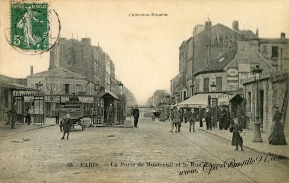 Paris  XX - la porte de Montreuil et la rue d'Avron