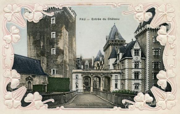 Pau-Entree du château - Carte Gaufrée