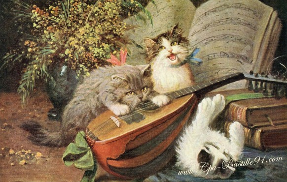 Carte-postale-Ancienne-Les chats Mélomanes