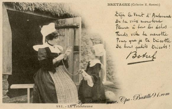 Carte Postale Ancienne- Bretagne - Théodore Botrel - la Tricoteuse