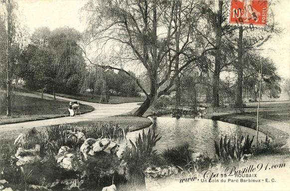 Roubaix - Un Coin du Parc Barbieux en 1910