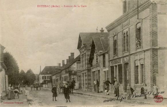Carte-postale-Ancienne-Estissac-aube-Avenue-de-la-gare