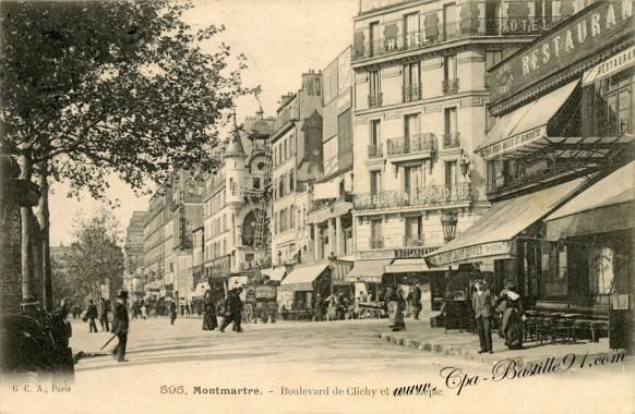 Montmartre-Boulevard-de-Clichy-et-coin-Lepic.