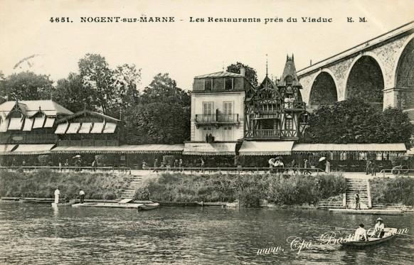 Carte-postale-Ancienne-Nogent-sur-Marne-Les-Restaurants-pres-du-viaduc
