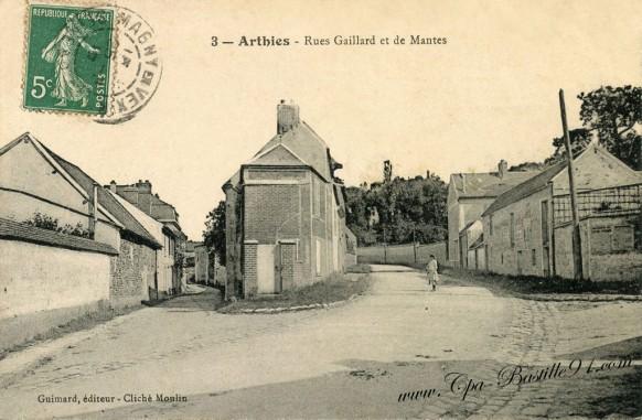 Carte postale Ancienne de Arthies-Rue Gaillard et de Mantes