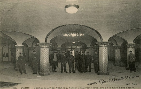 Chemin-de-fer-du-Nord-sud-Station-souterraine-circulaire-de-la-gare-saint-Lazare