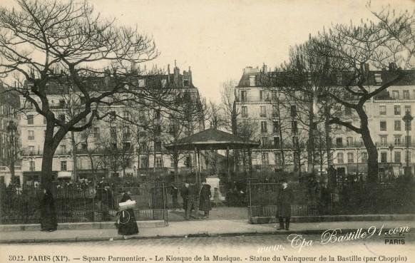 Cartes postales Anciennes-Square Parmentier-Le Kiosque de la Musique