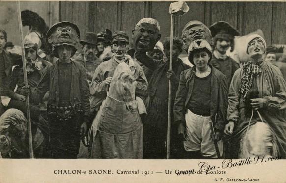 Chalon-sur-Saône - Le Carnaval de 1911 - Un groupe de Goniots