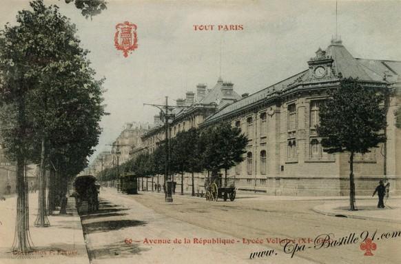 Carte-Postale-Ancienne-Tout-Paris-Avenue-de-la-République-Lycée-voltaire