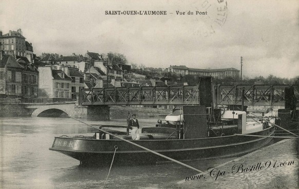 saint ouen l aum ne vue du pont en 1910 cartes postales anciennes. Black Bedroom Furniture Sets. Home Design Ideas