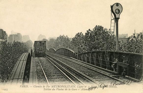 Paris - Chemin de Fer - Métropolitain - Ligne N°2 Nord Dauphine-Nation tablier du Viaduc  de la Gare d'Allemagne
