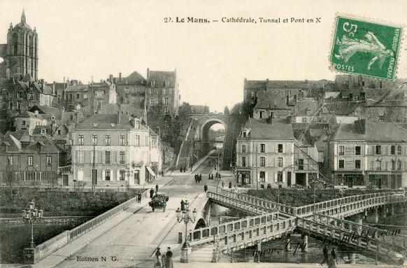 Carte postale Ancienne-Le Mans-Cathédrale, tunnel et pont en X