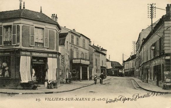 Carte-postale-Ancienne-Villiers-sur-marne-Rue-de-Paris