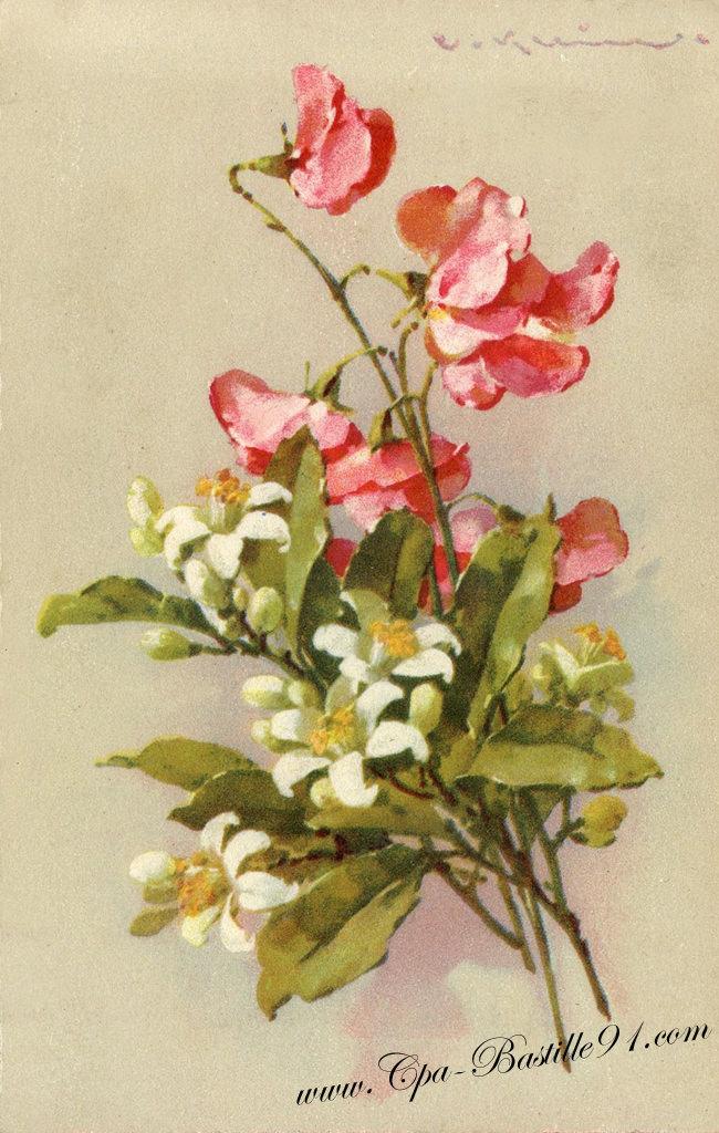 Carte postale ancienne bouquet de fleurs du peintre for Fleurs vente