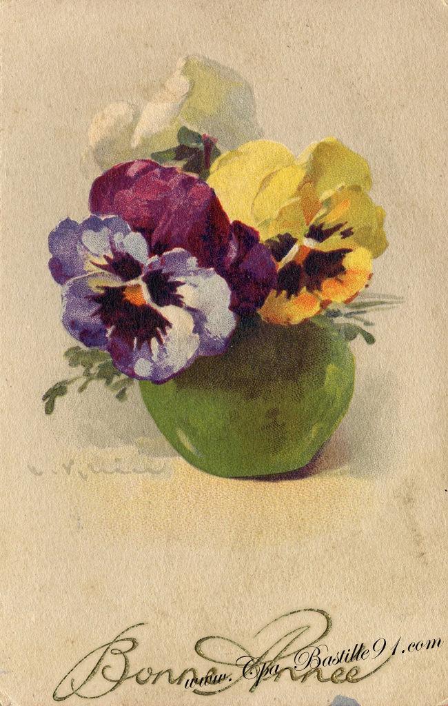 Fleurs cartes postales anciennes - Vente a terme avec bouquet ...