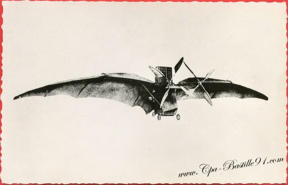 histoire de l'aviation - l'avion d'Ader le premier homme ayant volé sur un appareil à moteur