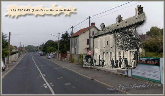 Carte Postale Ancienne - Les Brosses - Route de Melun - d'hier à Aujourd'hui