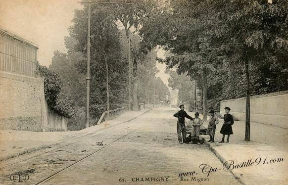 carte-postale-Ancienne-Champigny-Rue-Mignon-