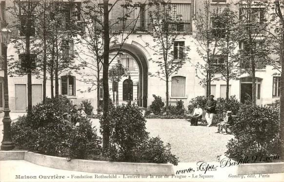 Maison Ouvrière - Fondation Rothschild - l'entrée sur la rue de Prague - Le square