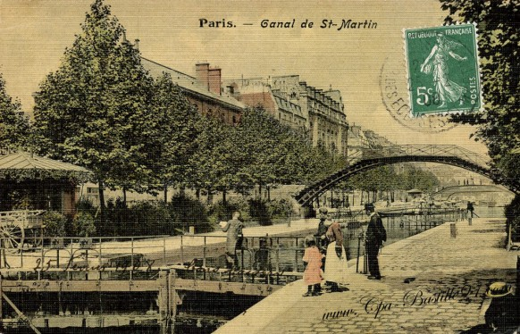 carte-postale-Ancienne-Paris-Canal-de-Saint-Martin.
