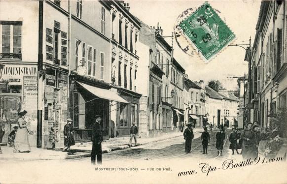 Montreuil sous Bois - Rue du Pré à la belle époque