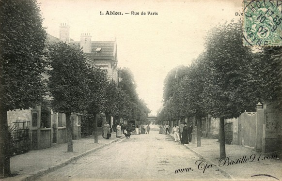 Carte Postale Ancienne - Ablon - La Rue de Paris