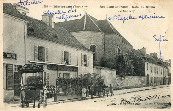 Carte Postale Ancienne - Bletterans - Rue Louis le Grand- Hotel du Raisin - Le couvent