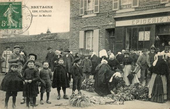 Carte Postale Ancienne - Bretagne Etables jour de Marché - Cliquez sur la carte pour l'agrandir et en voir tous les détails