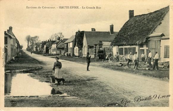 carte-postale-Ancienne-Environs-de-Crèvecoeur-Haute-Epine-La-Grande-rue