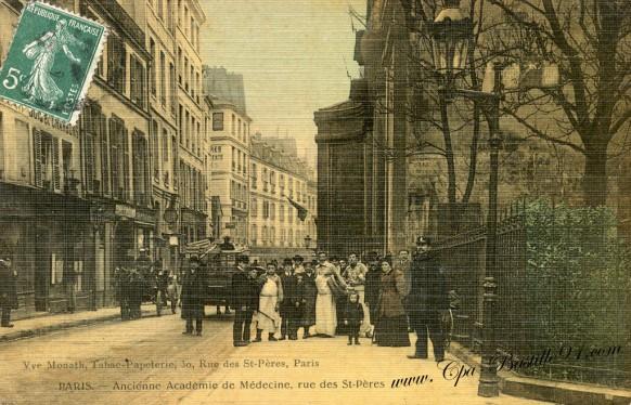 carte-postale-Ancienne-Paris-ancienne-académie-de-medecine-rue-des-St-péres