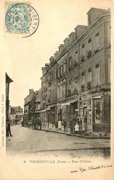 carte-postale-Ancienne-Thiberville-rue-dOrbec