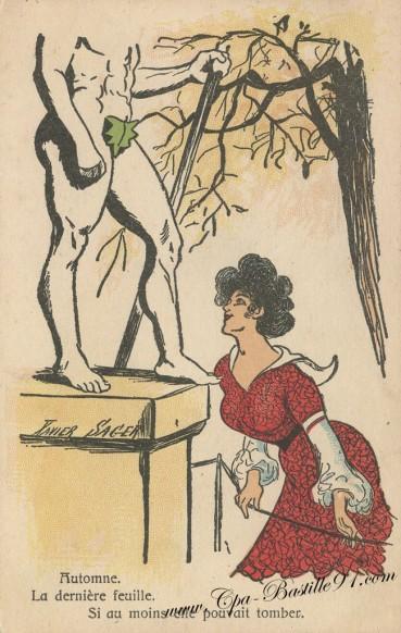 Carte Postale Ancienne de l'illustrateur Xavier Sager - Automne la dernière Feuille