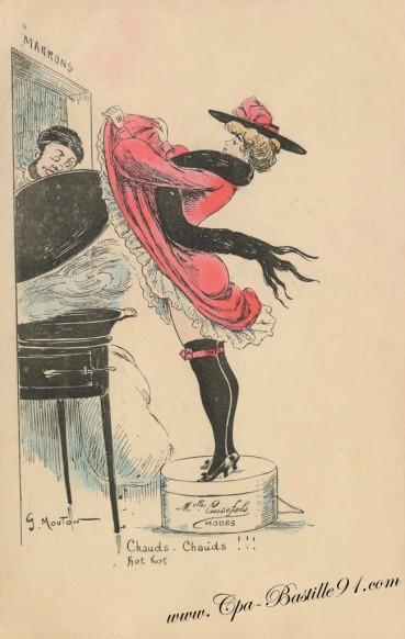 Carte Postale Ancienne - Mademoiselle Cuisefols - Modes - Chaud Chaud !!! Hot Hot de Georges Mouton
