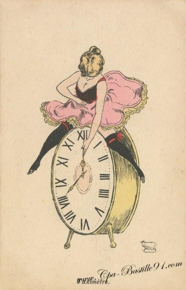 Carte-Postale-Ancienne-Taximètre de l'illustrateur Georges Mouton