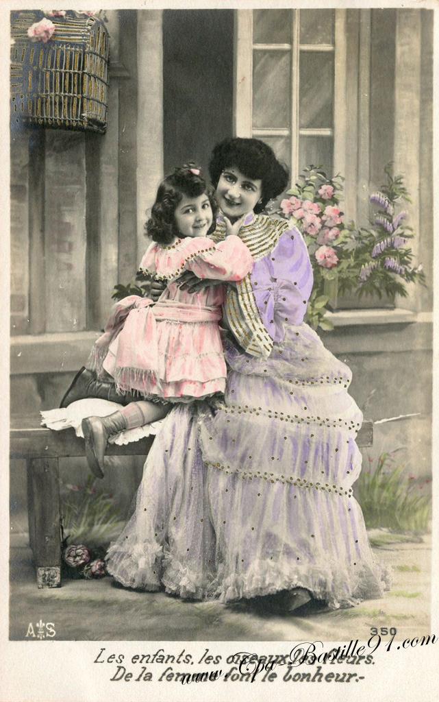 les enfants les oiseaux les fleurs de la femme font le bonheur cartes postales anciennes. Black Bedroom Furniture Sets. Home Design Ideas