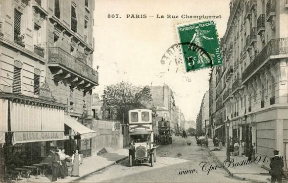 Carte Postale Ancienne - Paris la rue Championnet - Bière GALLIA