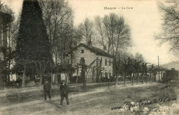 Carte-postale-Ancienne-Maurs-La-gare