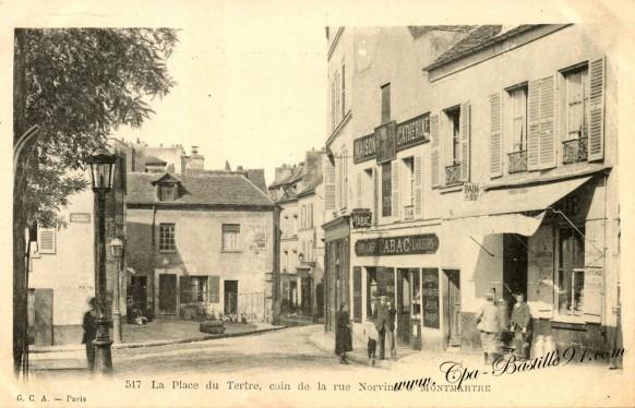 CPA - Paris XVIII - Place du Tertre - Coin de la rue Norvin - Montmartre