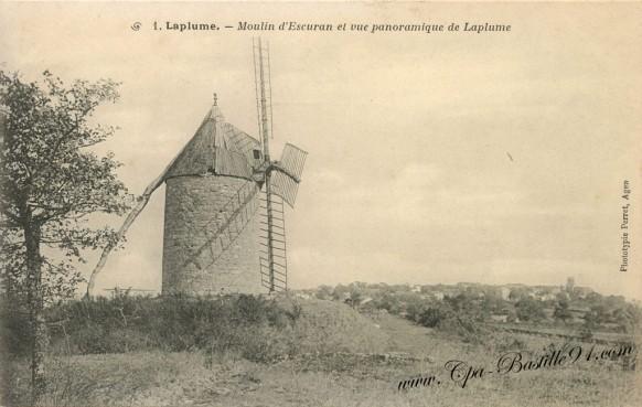 Carte Postale Ancienne - Moulin d'escuran et vue panoramique de Laplume