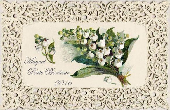 carte postale Muguet porte Bonheur 2016