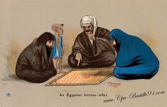 Cartes Postales de l'illustrateur Manavian en 1916 - An Egyptian fortune-teller