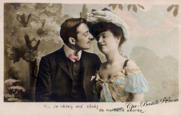 Carte-Postale-Ancienne-les-amoureux-