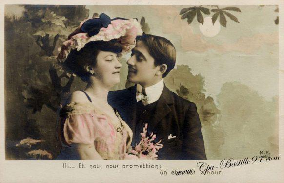 Carte Postale Ancienne-les amoureux - Et nous nous promettions un éternel Amour