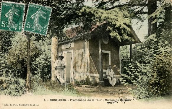 Cartes-Postales-Anciennes-Montlhéry-promenade-de-la-tour-maison-du-gardien