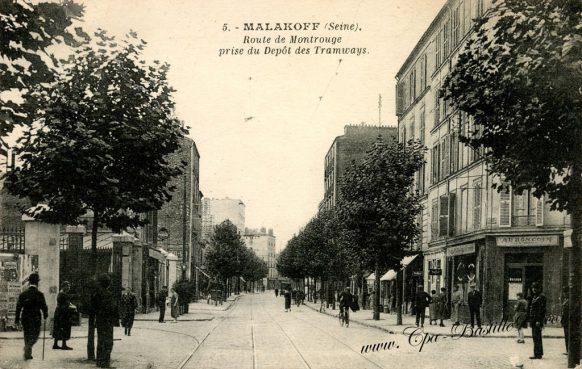 Cartes Postales Anciennes - Malakoff - Route de Montrouge prise du dépôt des Tramways