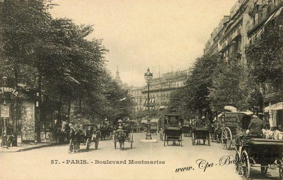 Cartes postales anciennes - Paris boulevard Montmartre à cheval